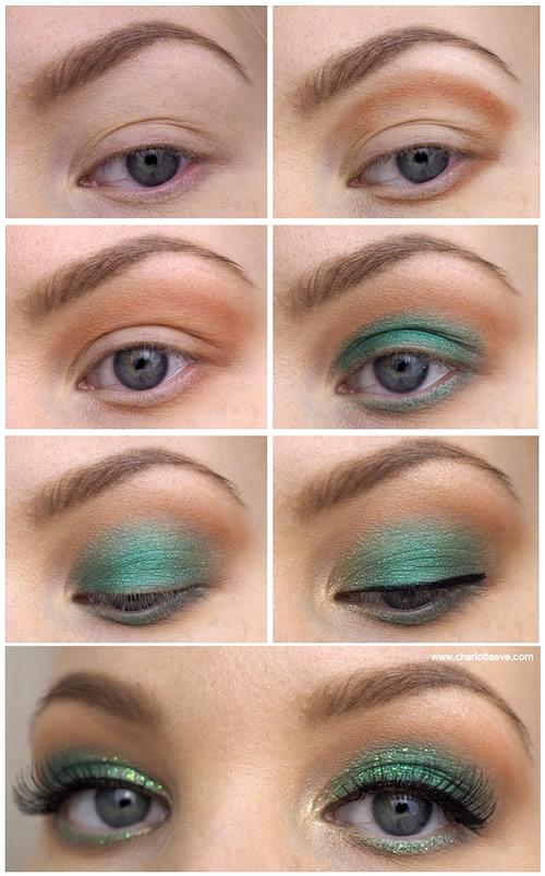 Green Glitter Eye Makeup Tutorial